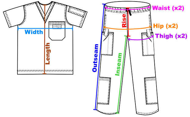 Aviator Pants and Shirts Measurement Illustration