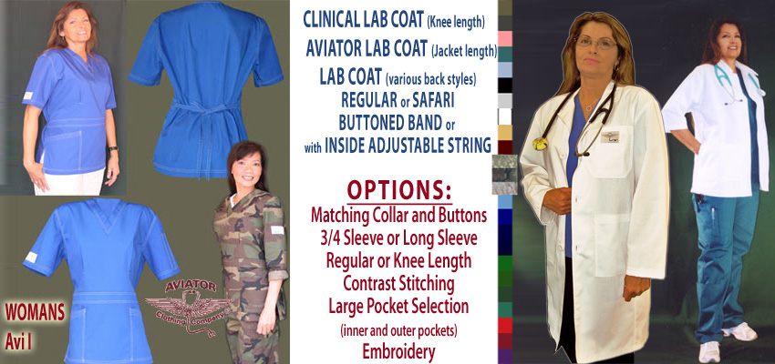 Womans AVI - Feminine style, figure falttering shirt and Lab Coats (Knee Length and Jacket Length)